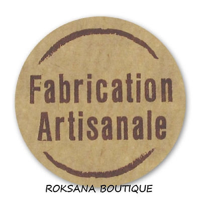 lot 100 etiquettes stickers fabrication artisanale rond marron ecru brun neuf