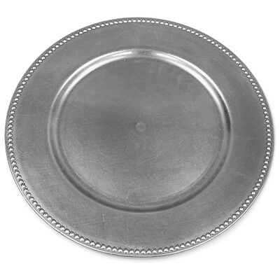 "24 pcs 13"" Silver BEADED ACRYLIC CHARGER PLATES Wedding Party Dinner Supplies"