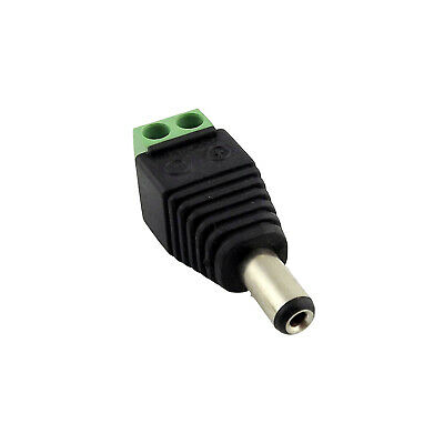 5.5 x 2.5mm Male DC Power Plug LED CCTV Video Balun Terminals Connector Adapter