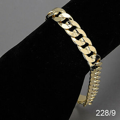 Men's 14K Yellow Gold Plated 9 Inches Chain Cuban Link Bracelet 10 mm  228/9