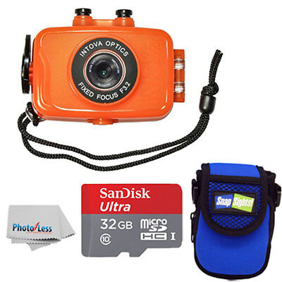 Intova Duo Waterproof HD POV Sports Video Action Camera Orange With Compact Case