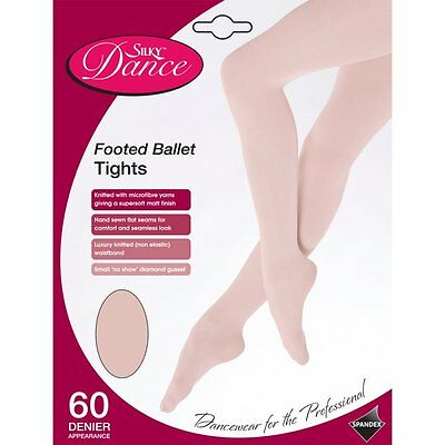 Children's Silky Full Foot Ballet Tights Footed Dance Tights Ages 3-13 - in Pink