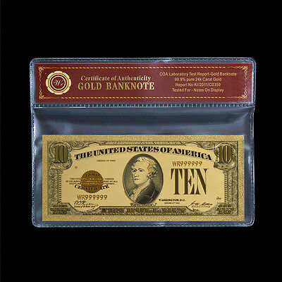 1928 $10 Gold Certificate U.S. Gold Money 24k Gold Plated Banknote /w Sleeve