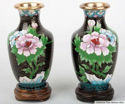 China 20. Jh. Vasen - A Small Pair of Chinese Cloisonne Vases - Cinese Chinois