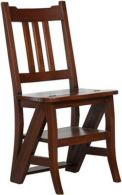 CHAIR SCALA LADDER CONVERTIBLE WOOD MAHOGANY per Bookcase LIBRARY