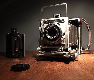 Vtg WORKING SPEED GRAPHIC GRAFLEX 2x3 MEDIUM FORMAT CAMERA optar 101mm +2x3 Roll