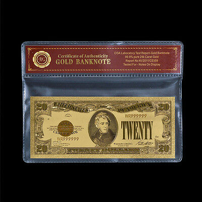 1928 $20 Gold Certificate Twenty Dollar Pure Gold Foil Banknote Sleeve Protector