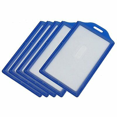 Vertical Business ID Badge Card Holders, 5 Pcs, Clear Blue TS