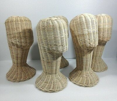 "5X 14"" Vintage Wicker Head Holder Wig Glass Hat Display Stand Rattan Natural"