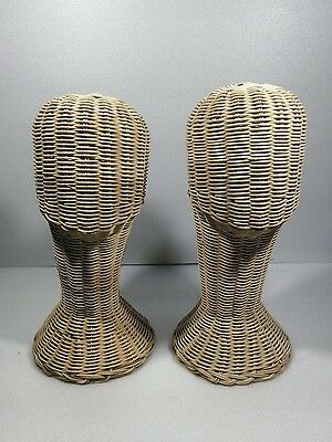 "2X 14"" Vintage Wicker Head Holder Wig Glass Hat Display Stand Rattan Natural"