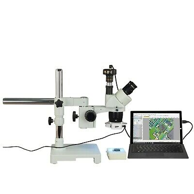 Trinocular 5X-10X-15X-30X 3MP Digital Stereo Boom Microscope+56 LED Ring Light