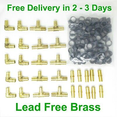 """(130) 1/2"""" PEX Crimp Fittings with Copper Crimp Rings Lead Free Brass"""