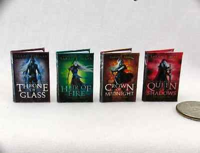 THRONE OF GLASS SERIES Set 4 Miniature Books Dollhouse 1:12 Scale Readable