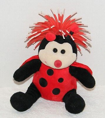 ZIBBIES FOR PETS  RED & BLACK LADYBUG PLUSH FOZZY TOY With RUBBER FLEX HAIR GUC