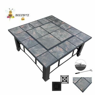 Beautiful Outdoor fire pit table for garden backyard with lid slate look heater