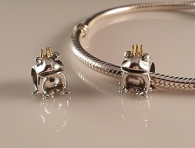Auth Solid 925 Sterling Silver Charm Bead Fashion Bracelet European Frog + Crown