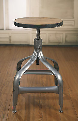 Stool Metal Base Adjustable French Industrial Provincial Hardwood Rustic Bar NEW
