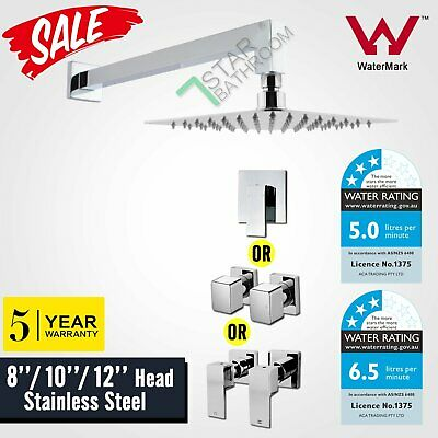 Chrome 8/10/12'' Square Ultrathin Shower Head Set 400mm Wall Arm Mixer Taps WELS