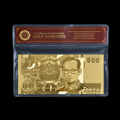 WR Gold Thailand 500 Baht Money Note Pure Gold Plated Thai Banknote Souvenir COA