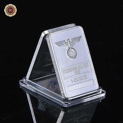 Rare 1 Oz German Silver Iron Cross Bar /w Clear Acrylic Capsule for Collection
