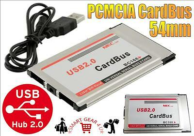 PCMCIA 54mm USB2.0 USB 2.0 Compact Short Hide Adapter CardBus for Laptop Win 7