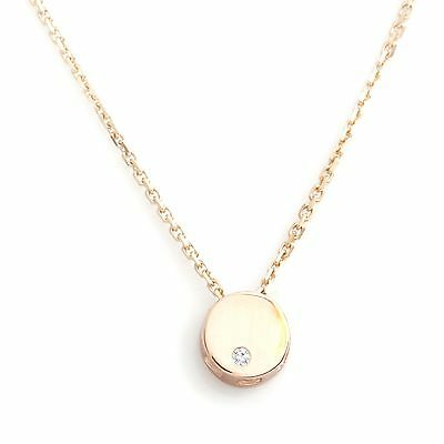 Small Circle Pendant in 14k Yellow Gold with Round Diamond Bezel Set Necklace