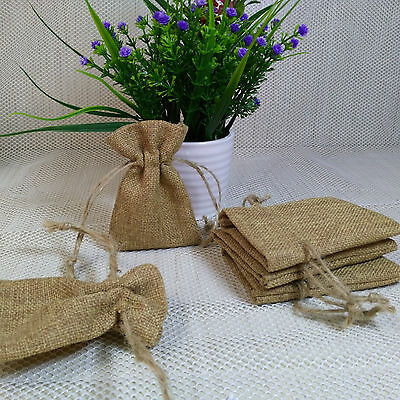 20/50/100pcs  7cm*10cm Small Vintage Wedding Hessian Burlap Jute Favour Gift Bag