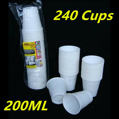 250 X White Disposable Plastic Drinking Cups - Reusable 200Ml- Party, Restaraunt