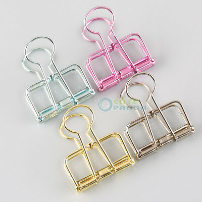 3pcs Hollow Out Metal Binder Clips Office Files Paper School Supplies Random