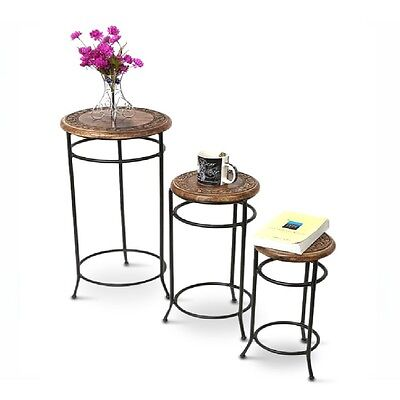 Round Industrial Nest of Tables Set of 3 Occasional Coffee Bar Tables Nested