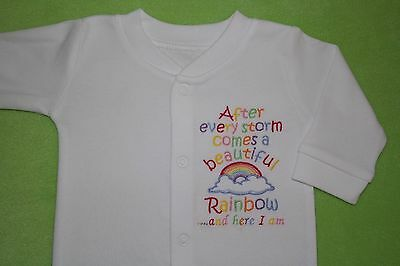 After a storm comes a beautiful rainbow here I am embroidered baby sleepsuit