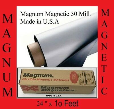"24"" width x 10Ft ROLL 30 Mil.Blank Magnetic Sign Sheet Cars Magnum"