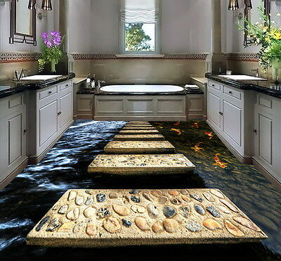 Stone Stage Fish in Water  Floor Decals 3D Wallpaper Wall Mural