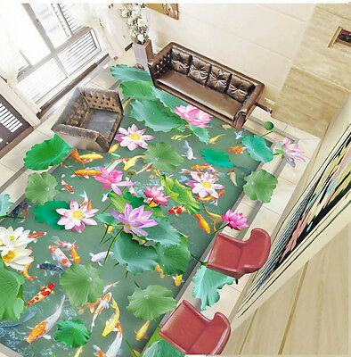 Vivid Green Lilypad Colorful Fish Lotus  Floor Decals 3D Wallpaper