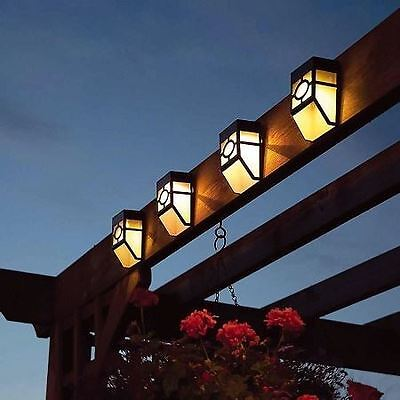 New Two Lights Solar Powered Led Fence Bright White Outdoor Use Garden Patio