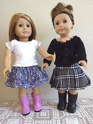 """NEW-DOLL CLOTHES: Skirt/Top/Boots Sets [2] fit 18"""" Doll such as AG Doll-Lot #257"""