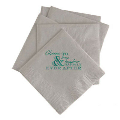 100 Custom Printed Cheers to Happily Ever After Paper Wedding Napkins