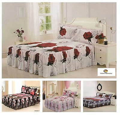 "3D Effect Quilted Fitted Bedspread With A 21"" Frill & 2 Pillow Shams (4 Designs)"