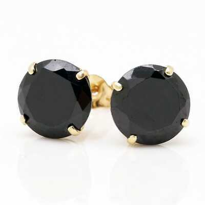 4CT Created Black Diamond Round Cut 14K Yellow Gold Stud Pushback Earrings 8mm