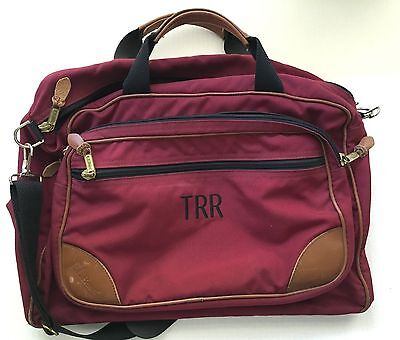 Vintage LL Bean Duffle Gym Bag Carry On Travel Luggage Red Canvas & Leather