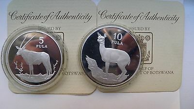 1978 Botswana Conservation Series 2 coin Silver Proof Set w/ CoA 5/10 Pula