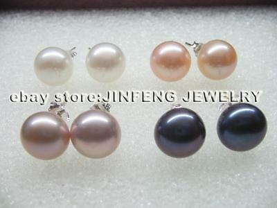 100 pairs 4mm 5mm 6mm 7mm 8mm 9mm 10mm button real pearl stud earrings s925