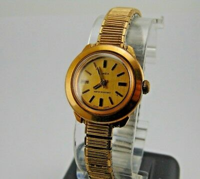 Timex Ladies Watch Gold Tone Round Face Stretchy Band Wind-Up