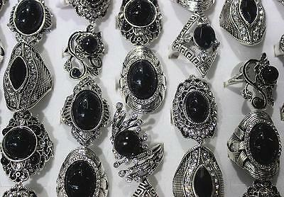 Mix Lots 14pcs Rhinestone Silver Plated Black Trendy Noble Lady's Gift Ring L594