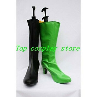 Kim Possible Shego Green and Black Patent Cosplay Shoes boots  shoe boot