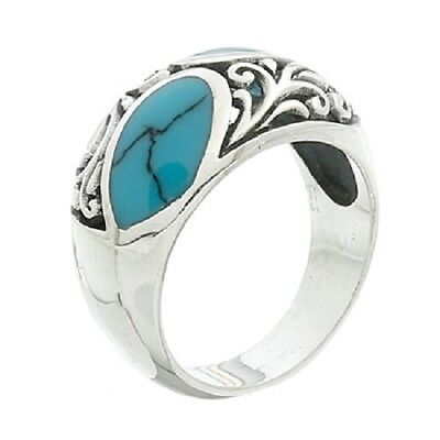 Silver ring 925 sterling handmade Synthetic Turquoise Branching Decor fashion
