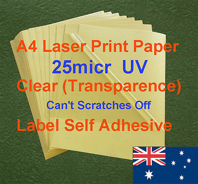 20 X A4 Clear UV 25micr Label Adhesive Sticker Laser Print paper( transparence )