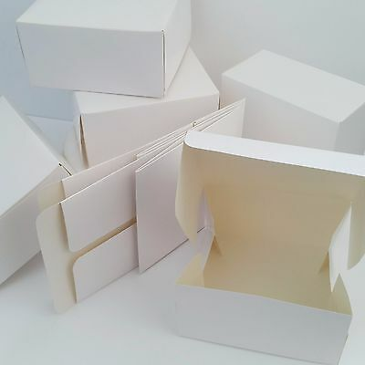 "6"" WHITE CAKE  BOXES SQUARE Food Treat Sweets Gift Festive Cookies"