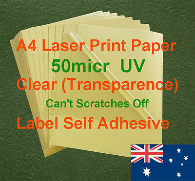 30 X A4 Clear UV 50micr Label Adhesive Sticker Laser Print paper( transparence )