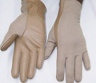 PILOT GLOVES Leather NOMEX AIRFORCE Fire Resistant DESERT TAN  XS,S,M,L,XL,XXL